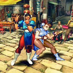 Chun Li and Chun Li | 16 Video Game Characters Posing With The Old Versions Of Themselves