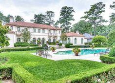 Mediterranean villa in Atlanta, Georgia - Rear Exterior w/ Pool