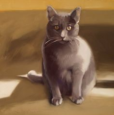 Diane Hoeptner » Coco Sitting Oil Painting Gray Cat