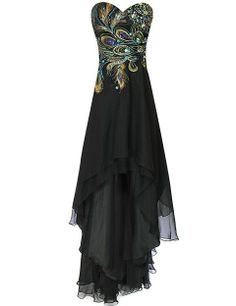 Hi-Low Party Dresses | ... Cutest black peacock sweet 16 dresses for sixteenth birthday party