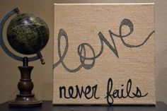 Burlap Canvas Painting Love Never Fails Burlap Black Gray Romantic Wall Art Rustic Wedding Decoration Square Inspirational Wall Hanging Sign...