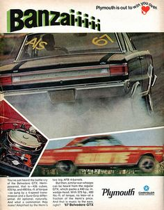 1967 Plymouth Belvedere GTX Advertising Hot Rod Magazine April 1967