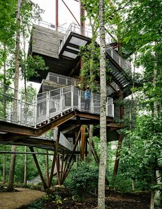 Weekend Cabin: The Boy Scouts built a treehouse. It's 125 feet high and awesome. http://www.adventure-journal.com/2014/05/weekend-cabin-boy-scouts-sustainability-treehouse-west-virginia/