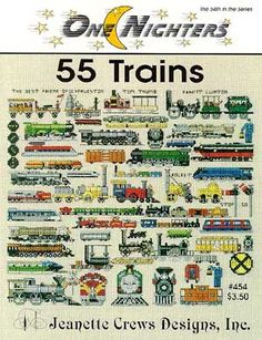 55 Trains - Cross Stitch Pattern  by Jeanette Crews Designs