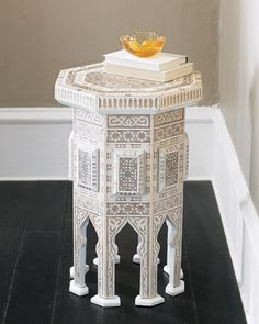 "Ivory ""Moroccan"" Table at Horchow.  i love the idea of islamic design in light color"