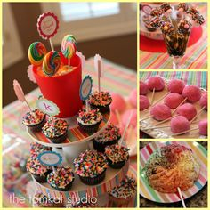 I like the tiered plates with really lollies at the top.  Cake pops with sprinkles on the plates.  Hmmm . . . paper fringe on the plates?