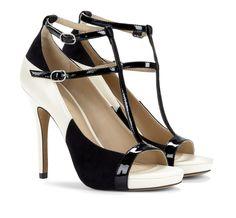 Black & White T-Strap Heels