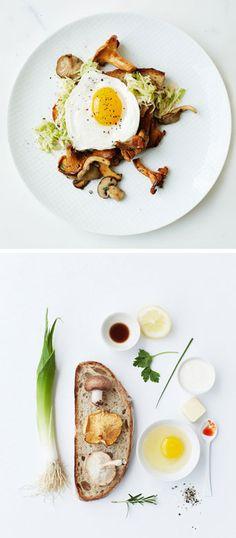 Toast with eggs, mushrooms + leeks.