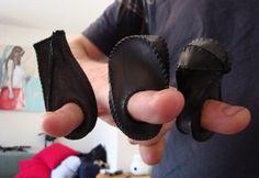 Tassa Joannides - 3 rings, using hand cut panels of bicycle inner tubes.