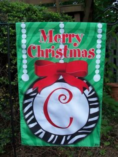 Monogram CHOOSE Initial Zebra Christmas Garden Flag