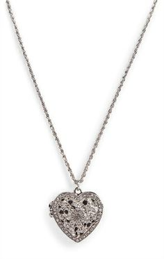 Deb Shops Short Locket #Necklace with Stone Heart $6.23