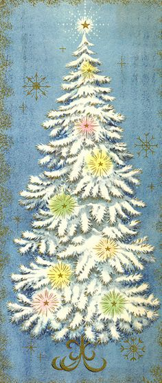 White Tree with yellow, pink & green lights      Vintage Christmas Card, another lovely card with blue in the background.