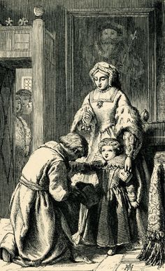 Anne Boleyn Commending the Princess Elizabeth to the Care of Matthew Parker  Anne Boleyn standing in front of a portrait of Henry VIII, holding a prayer book, talking to Matthew Parker, kneeling at left, kissing the hand of Princess Elizabeth; two young women watching from behind a half-open door in background at left.