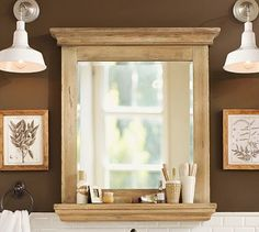Mason Reclaimed Wood Mirror with Shelf #potterybarn