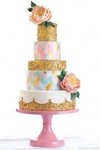 Gold Sequin Cake with soft pastels   by Fondant Flinger