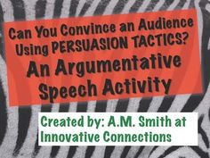 $3.79   This 16 page pptx consists of a creative persuasion project assignment requiring students to incorporate persuasive techniques to deliver a persuasive speech, as well as create a visual aid.