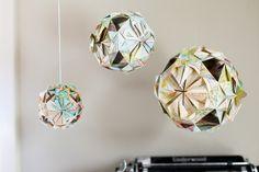 Such fun! balls, connecticut, origami paper, mobil, decorating ideas, vintage maps, boy rooms, atlas paper, globe