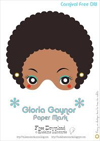 Free printable - Gloria Gaynor Paper Mask for Carnival theme party or photo booth prop