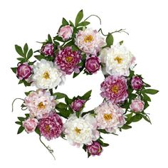 Faux Peony Wreath//