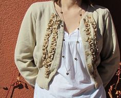 craft, upcycl, diy sewing makeovers sweaters, sweaterefashionista ruffl, cloth, ribbon, inspir cardigan, cardigan refashion, beads