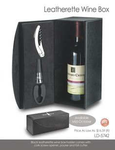 Leatherette wine box with accessories