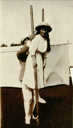 Anastasia on stilts in Finland, 1913