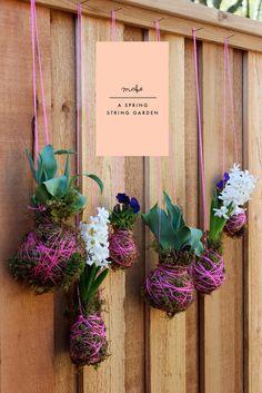 spring string, string gardens, hanging plants, hanging flowers, diy garden gifts