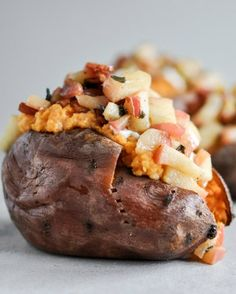 Apple Bacon Stuffed Sweet Potatoes I howsweeteats.com