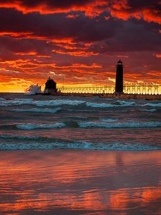 Grand Haven Pier and Lighthouse Michigan