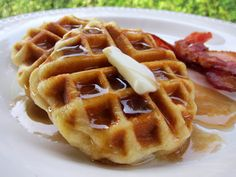 Easy Biscuit Waffles - Tried this morning.  I stretched the biscuits out, making them thinner.  It actually made them kind of tough.  Try again just placing the biscuits straight on the waffle maker without stretching.