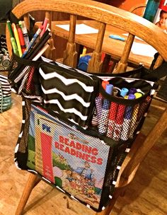 Another CREATIVE idea from our Thirty-One community of consultants, hostesses and customers! This is the On A Stroll that is designed for a stroller on the back of a chair to keep school supplies! SMART!