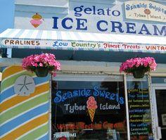 Seaside Sweets on Tybee Island, Georgia - LOVE LOVE LOVE this little shop. Their banana caramel praline ice cream is the BEST!