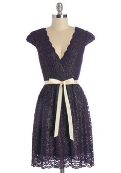 That's My Gala Dress - Purple, Gold, Lace, Scallops, Special Occasion, Party, A-line, Cap Sleeves, Fall, Woven, Lace, Good, V Neck, Belted, Bridesmaid