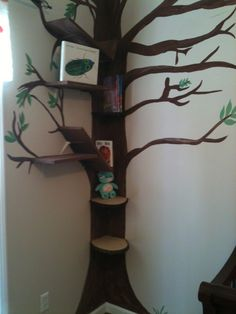 """Painted nursery tree with shelf """"branches"""""""