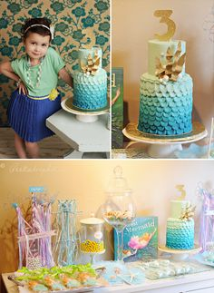 Mermaid theme: cake and sweets table