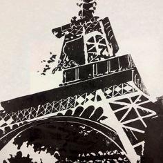 Lino print of Eiffel Tower
