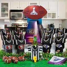 Drinks are served ... with stadium seating! Super Bowl Party Ideas football party foods, super bowl foods, footbal superbowl, dinner parties, footbal parti, football parties, football jerseys, parti idea, superbowl parti