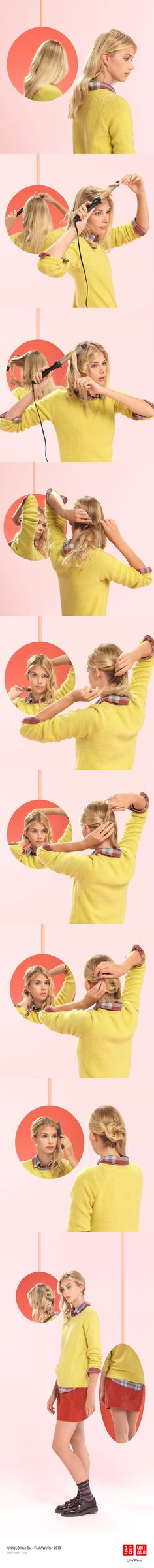 """""""THE ROLL AND WAVE"""" : Simple and fun, this style looks great on the go. LooseCurls Click the image for DIY instructions! #Hair #Hairstyle #DIY #UNIQLO #HairDo"""