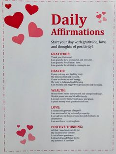 DAILY AFFIRMATIONS: a list of my very favorite affirmations that target some of the most important aspects of our lives. Can be used daily to target beliefs on our personal gratitude, health, wealth, love, and positive thinking ♥️ Affirmation Print, Daily Affirmations, Affirmation Quote, Law of Attraction, LOA Affirmations, Positive Affirmation, Affirmation Card