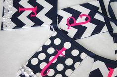 Fabric Birthday Banner - Navy, White, and Pink.  Etsy.