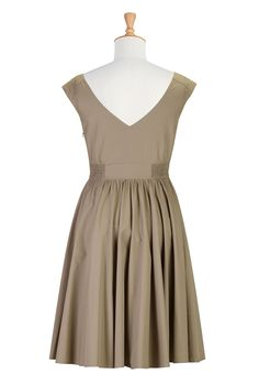 Vestido Beige, además de ropa para mujer mujeres tienda del diseñador de moda - Vestido de una línea-- La tienda de vestidos de línea A-  eShakti.com
