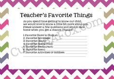 Back to School Teacher Questionnaire: Set yourself up to give gifts the teacher likes all year long! Printable found at : http://www.cuteasafox.com/2012/08/back-to-school-teacher-questionaire.html