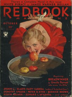 The Halloween themed cover of the October 1933 edition of Redbook magazine. #vintage #1930s #Halloween #apples