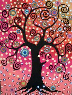 Swirl Tree In Bloom  Painting  - Swirl Tree In Bloom  Fine Art Print
