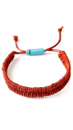 Fish Bone Bracelet, Natural Turkey Red - 1mm by MPH Designs