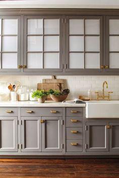 MD110772-kitchen-detail-022 gray cabinet, hardware, cabinet colors, grey kitchens, farmhouse sinks, subway tiles, marbl, brass hardwar, kitchen cabinets