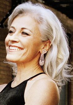 Louise Pitre // silver gray hair