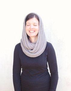 Infinity scarf Grey Knit Scarf Silver Gray Chunky by VeraJayne, $40.00