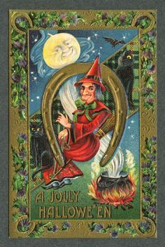 Vintage Halloween Postcards ~ witchy
