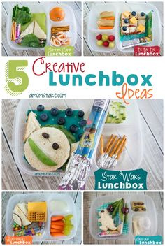 5 creative and awesome summer lunchbox ideas bento style including themes of summer camp, tic tac toe, star wars, dinosaur and basketball lunch box ideas! #amomstake